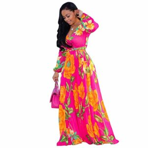 Women's Chiffon Dresses Plus Size V-Neck Stylish Printed Floral Maxi Dress with Belt Oversize S-5X