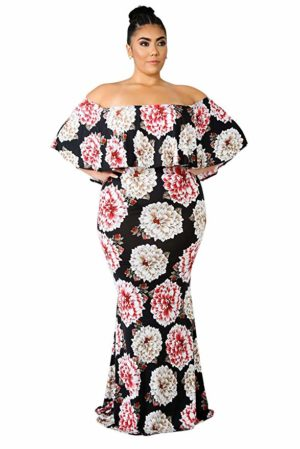 Eytino Women Plus Size Floral Print Off Shoulder Ruffle Party Cocktail Long Maxi Dress